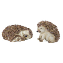 "More about the 'Hedgehog (Set of 2) 7"" x  3.25""H, 4"" x 4.75""H Resin/Stone Powder' product"