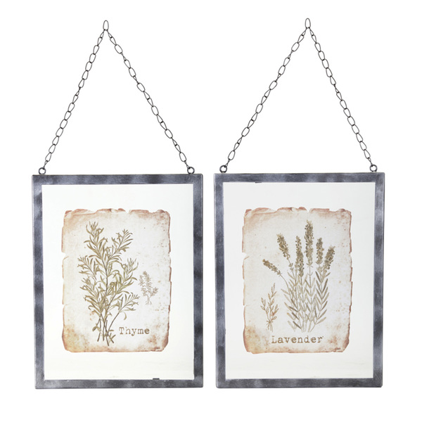 "Lavender/Thyme Frame (Set of 2) 9.5"" x 12.5"" Glass/Metal"