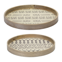"More about the 'Round Tray (Set of 2) 14""D, 15.75""D MDF/Paper' product"