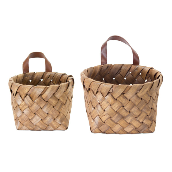 "Basket (Set of 8) 7"" x 5""H, 9"" x 6""H Wood - Brown"