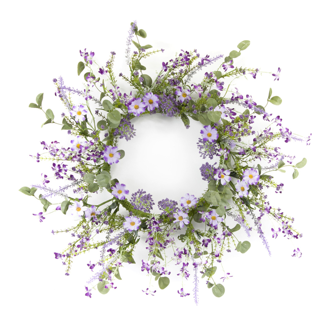 Melrose Mini Floral Wreath 18 D Polyester Plastic American Country