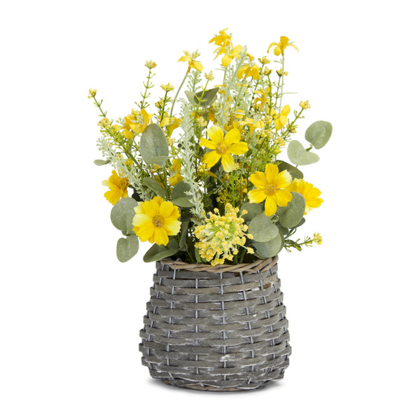 "Mini Floral Basket (Set of 2) 8"" x 13.5""H Polyester/Plastic"