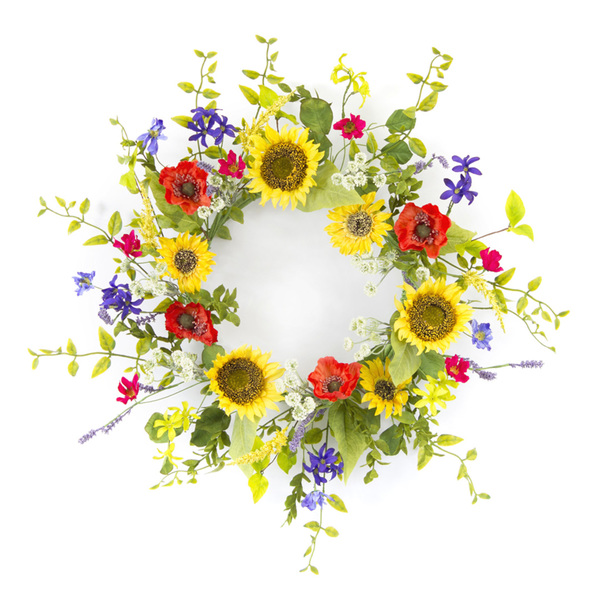 "Sunflower/Poppy Wreath 22""D Polyester/Plastic"