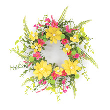 "More about the 'Daisy/Pom Pom Wreath 22""D Felt/Plastic' product"