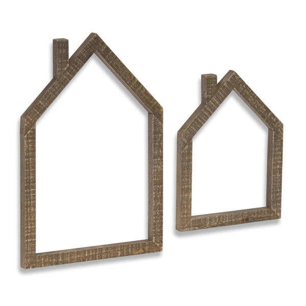 "House Outline (Set of 4) 7.25"" x 10""H. 10"" x 14.5""H Wood"