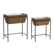 "More about the 'Planter With Stand  (Set of 2) 18.75"" x 24""H, 23"" x 27.75""H Iron/Wood' product"