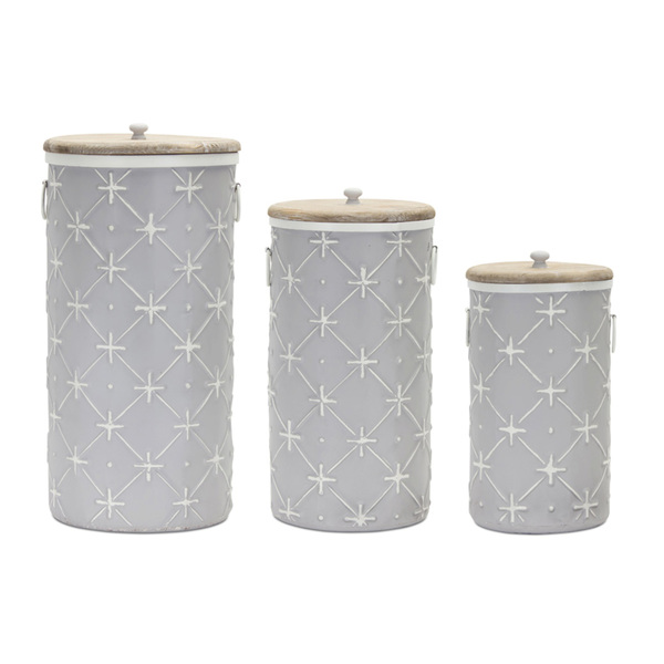 "Canister (Set of 3) 14""H, 17""H, 20.25""H Iron/Wood"