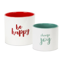 "More about the 'Happy/Joy Pot (Set of 6) 5"" x 4.5""H, 6"" x 5.5""H Dolomite' product"