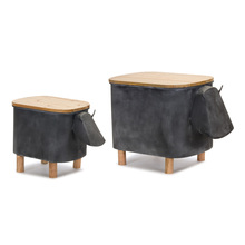 "More about the 'Cow Planter With Lid (Set of 2) 11"" x 14.5""H, 15"" x 18""H Iron/Wood' product"