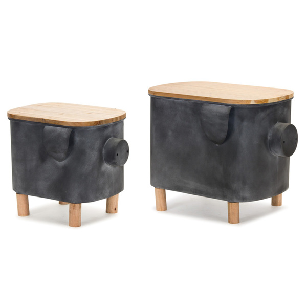 "Pig Planter With Lid (Set of 2) 14"" x 14.5""H, 17"" x 18.5""H Iron"