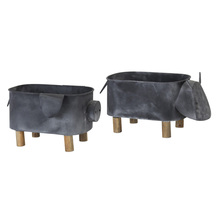 "More about the 'Cow/Pig Planter (Set of 2) 15.5"" x 8""H, 13"" x 7.5""H Iron' product"