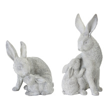 "More about the 'Rabbit With Bunny (Set of 2) 7.5"" x 7""H, 5.5"" x 11""H Resin/Stone Powder' product"