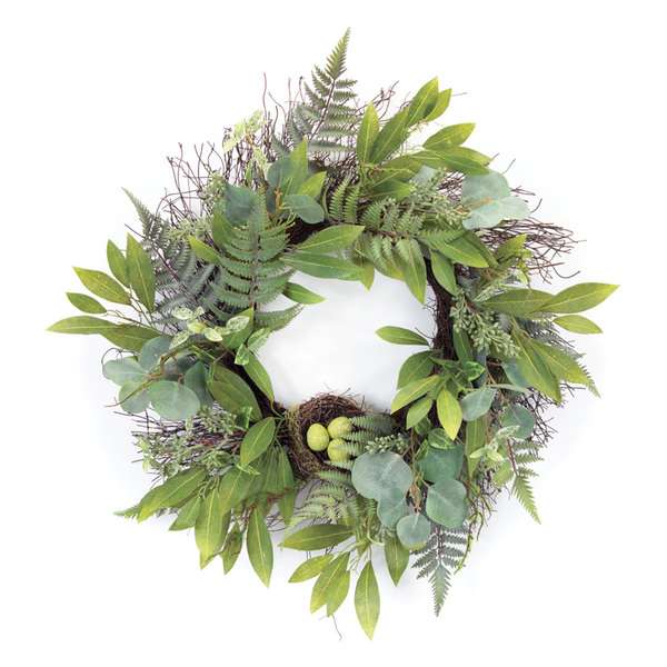 "Mixed Foliage W/Nest Wreath 25""D Polyester"