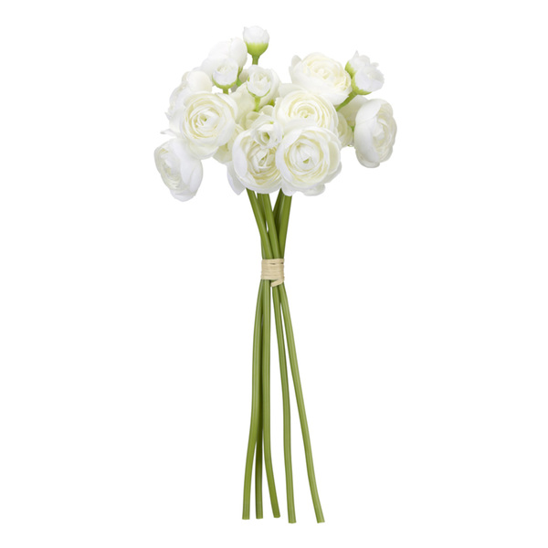 "Ranunculus Bouquet (Set of 12) 11""H Polyester/Plastic - White, Green"