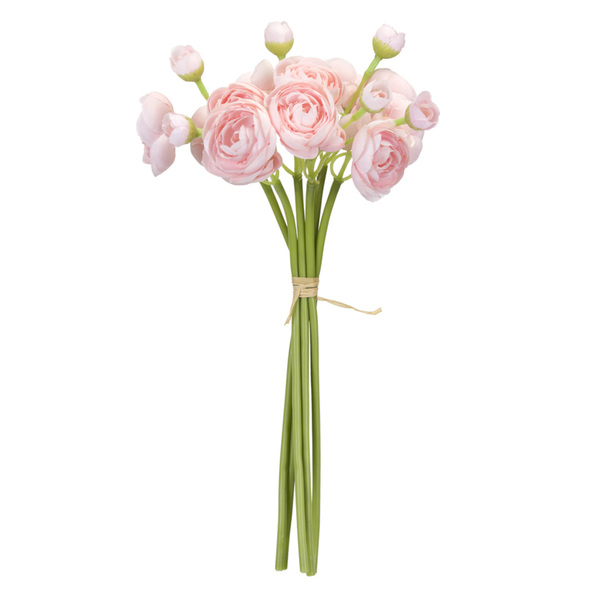 "Ranunculus Bouquet (Set of 12) 11""H Polyester/Plastic - Green, Pink"
