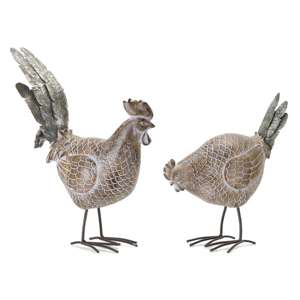 "Chicken (Set of 2) 10""H, 13""H Resin/Metal"