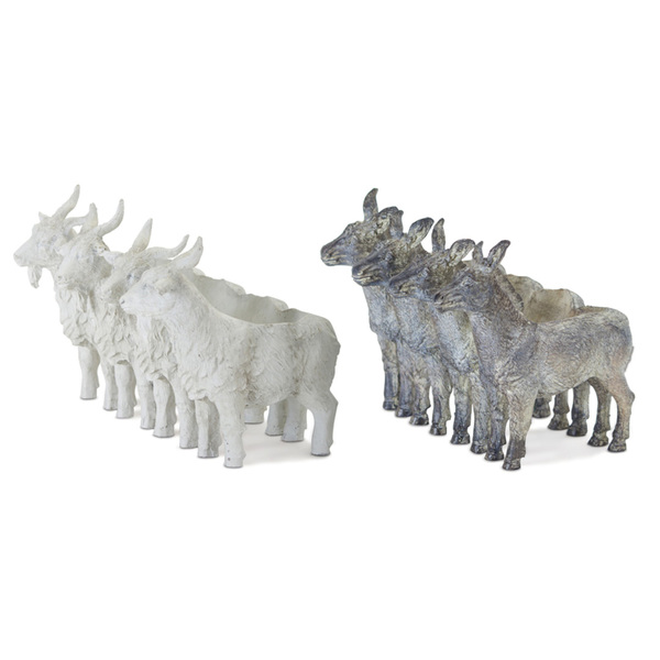 "Donkey/Goat X4 (Set of 2) 5.5"" x 6.5""H Resin/Stone Powder"