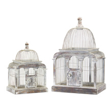 "More about the 'Bird Cage (Set of 2) 13.25"" x 19.5""H, 17.25"" x 27.25""H Wood/Iron' product"