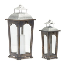 "More about the 'Lantern (Set of 2) 17""H, 24""H Zinc/Wood' product"