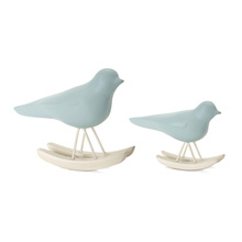"More about the 'Bird Rocker (Set of 4) 3.25""H, 4.25""H Resin - Blue, Brown' product"