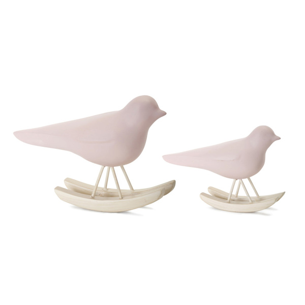 "Bird Rocker (Set of 4) 3.25""H, 4.25""H Resin - Pink, Brown"