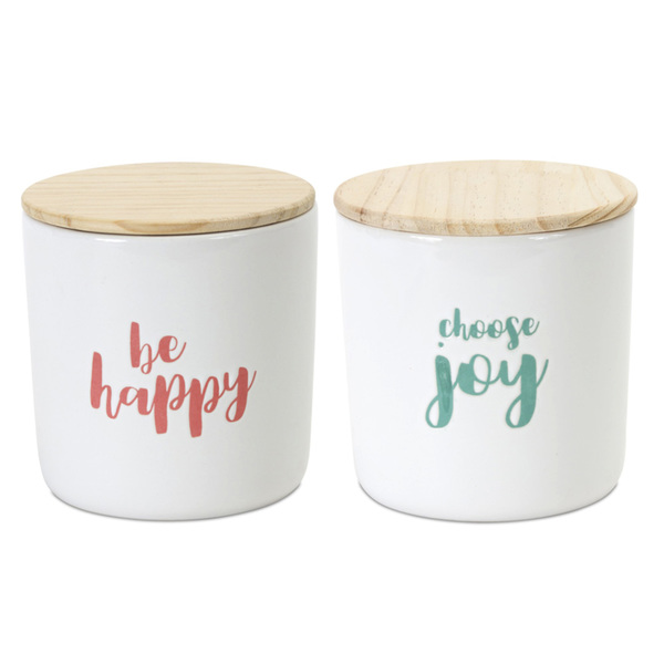 "Canister (Set of 2) 4.75""H Wood/Stoneware"