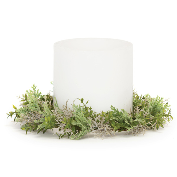 "Foliage Candle Ring (Set of 12) 10.5""D Plastic/Twig"