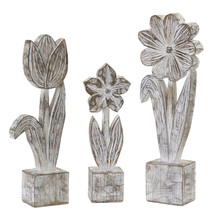"More about the 'Potted Floral (Set of 3) 10.5""H, 12.75""H, 14.25""H Resin/Stone Powder' product"