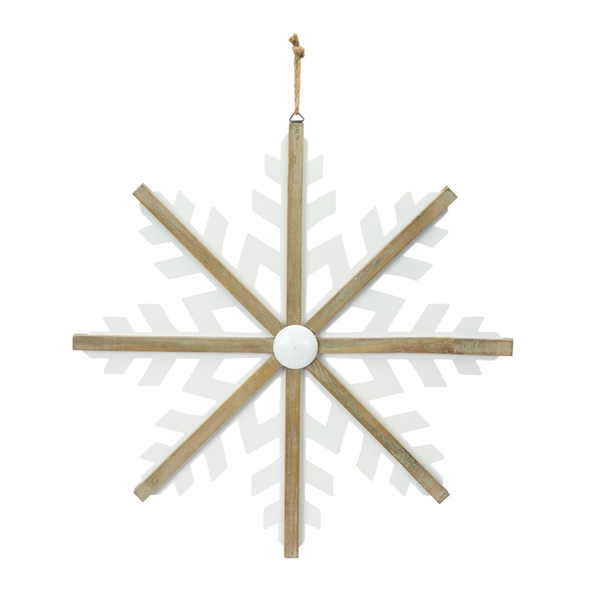 "Snowflake Ornament 23""H (Set of 2) Iron/Wood"