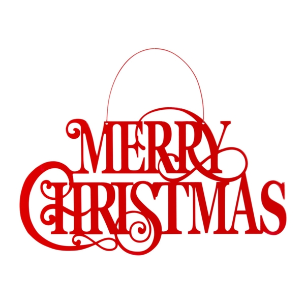 "Merry Christmas Sign 22""L x 17.5""H (Set of 4) Iron"