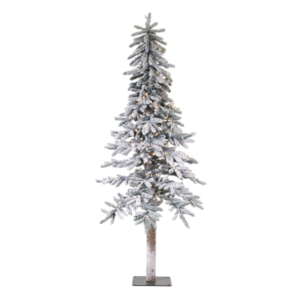 Flocked Alpine Tree 6'H PVC/Metal