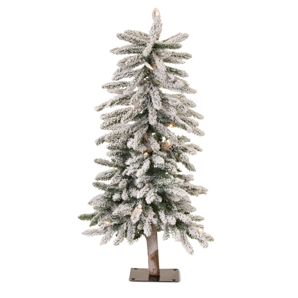 Flocked Alpine Tree 3'H PVC/Metal