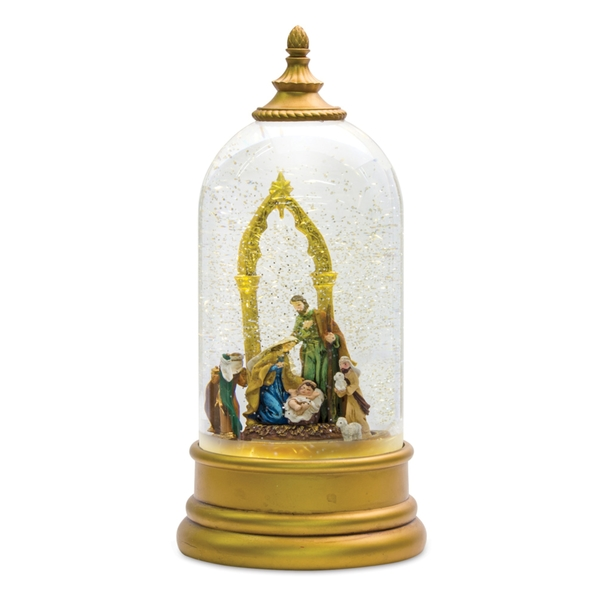 "Nativity Snow Globe 10.5""H Plastic 6 Hr Timer 3 AA Batteries, Not Included or USB Cord Included"