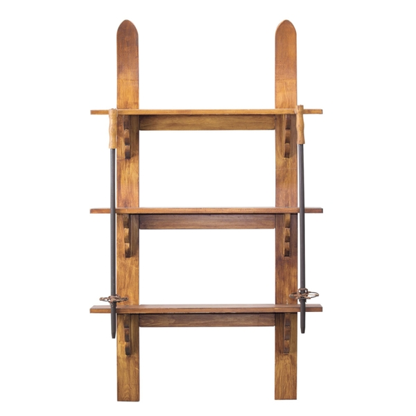 "Ski Wall Shelf w/Poles 27.75""L x 47.5""H (Poles are 27.75""H) Wood"