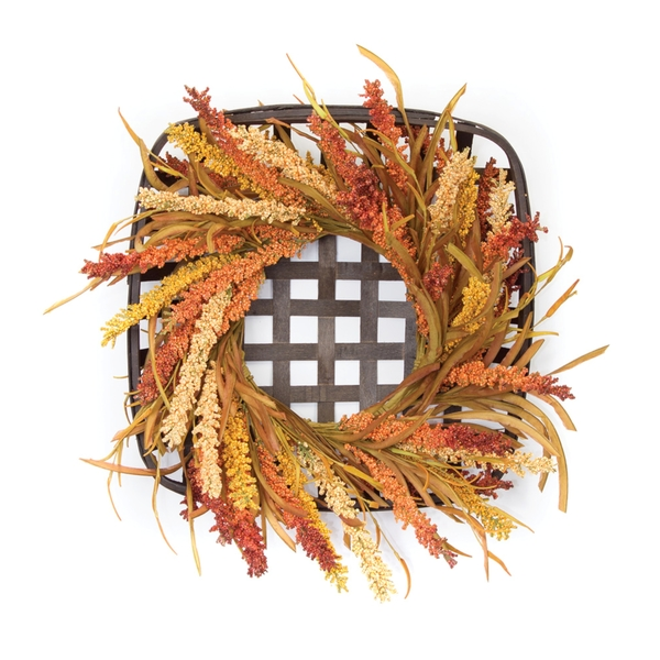 "Wreath and Wicker Wall D�cor 20""SQ Foam/Willow"