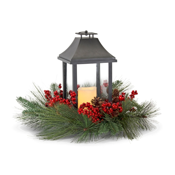 "Pine and Berry w/Lantern 20""D x 16""H Plastic/Foam/Metal 6 Hr Timer 1 AA Battery, Not Included"