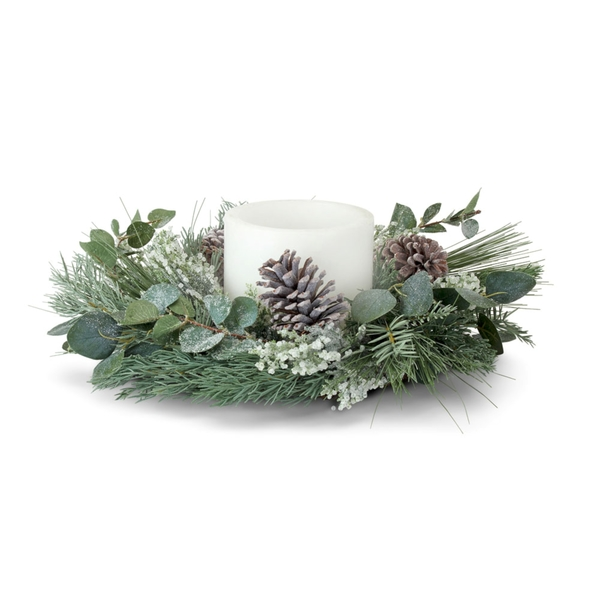 "Pine and Eucalyptus Candle Ring 17""D (Set of 2) Plastic/Polyester (Fits a 4"" Candle)"