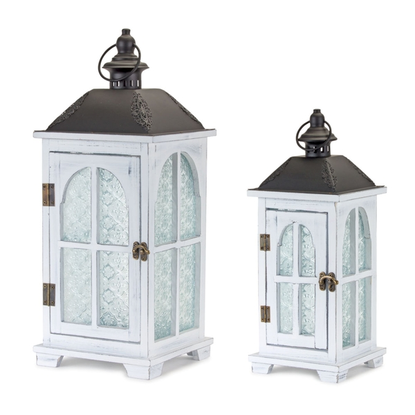 "Lantern (Set of 2) 14.5""H, 19.25""H Wood/Metal"