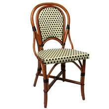 Marais Bistro Rattan Chair with in ivory/black
