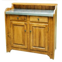 Southern Pine Dry Sink with Tin Finish Metal Top