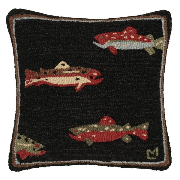 Trout Hooked Pillow by Chandler 4 Corners