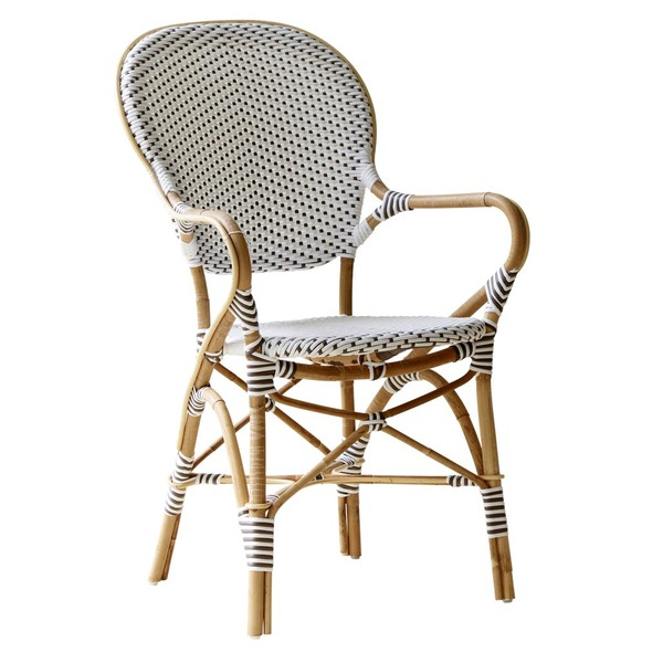 Isabell Arm Chair by Sika White with Cappuccino Dots