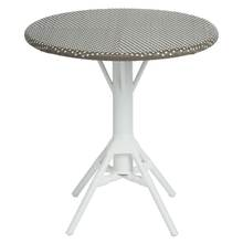 Nicole Cafe Table by Sika with Woven Round Tabletop in Cappuccino with White Dots