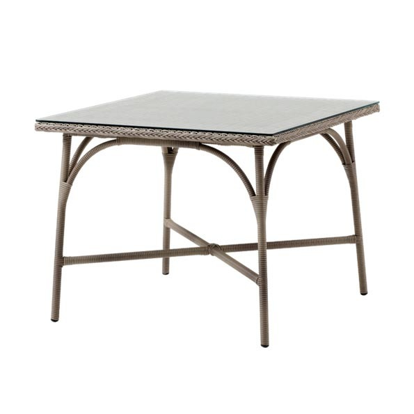 Victoria Square Dining Table By Sika in Antique w/Glass Top