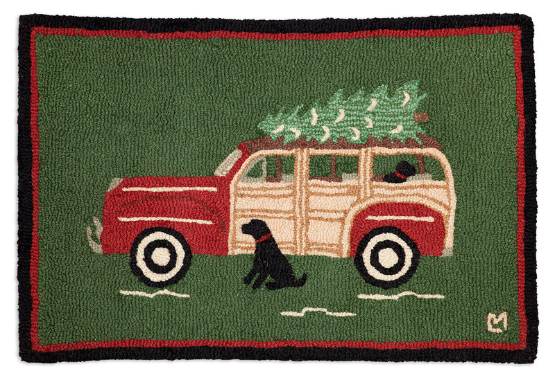 Woody Wagon Christmas 2'x3' Hooked Wool Rug