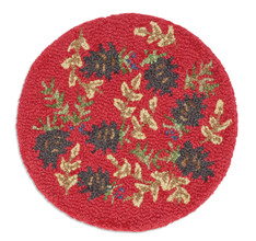 "Set of 2 Ruby Pinecone Berries 14"" Chairpads"