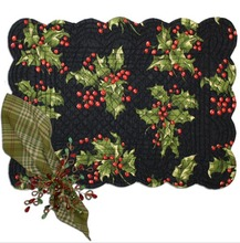 Holly Black Placemats/SET of 4