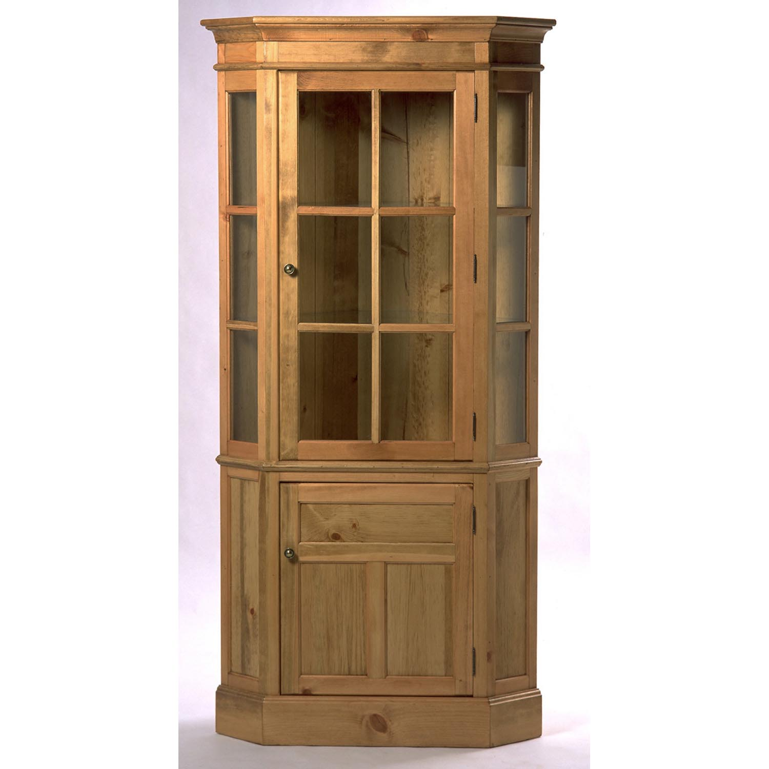 Ordinaire Southern Pine Glass Front Corner Cupboard