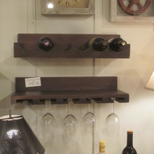 Wooden Hanging Set of 2 Wine Bottle/Wine Glass Shelves