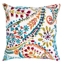 Amelie White Embroidered Decorative Pillow